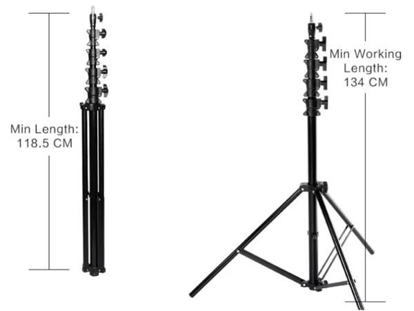 Chiều cao gấp gọn và chiều cao an toàn của chân đèn