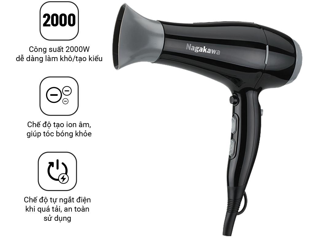 Máy sấy tóc tạo ion âm Nagakawa NAG1606 (2000W)