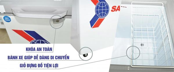 Tủ đông 1 ngăn 2 cánh 235 lít inverter Sanaky VH-2899A4KD (mặt kính cường lực xanh)