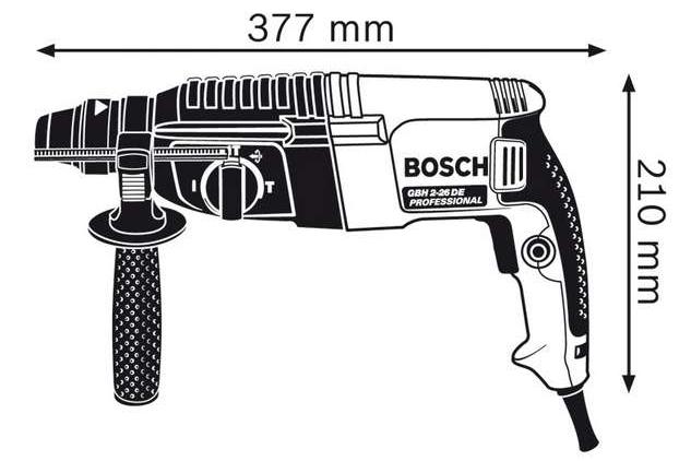 Kích thước của máy khoan búa Bosch GBH 2-26 DE