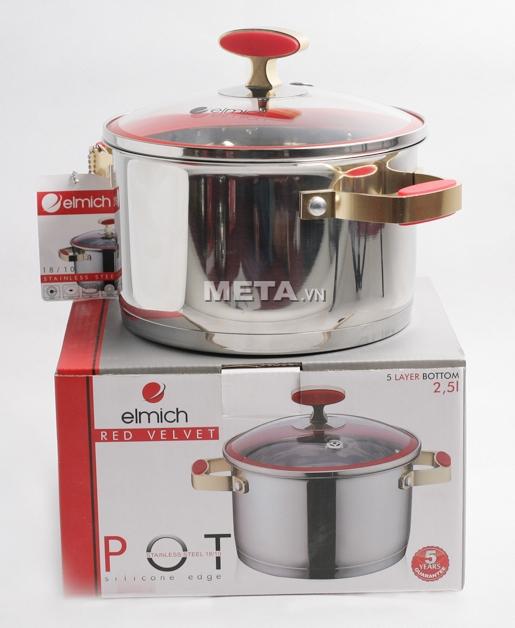 Xoong inox 304 Red Velvet 18cm 2355267 có vỏ hộp sang trọng.
