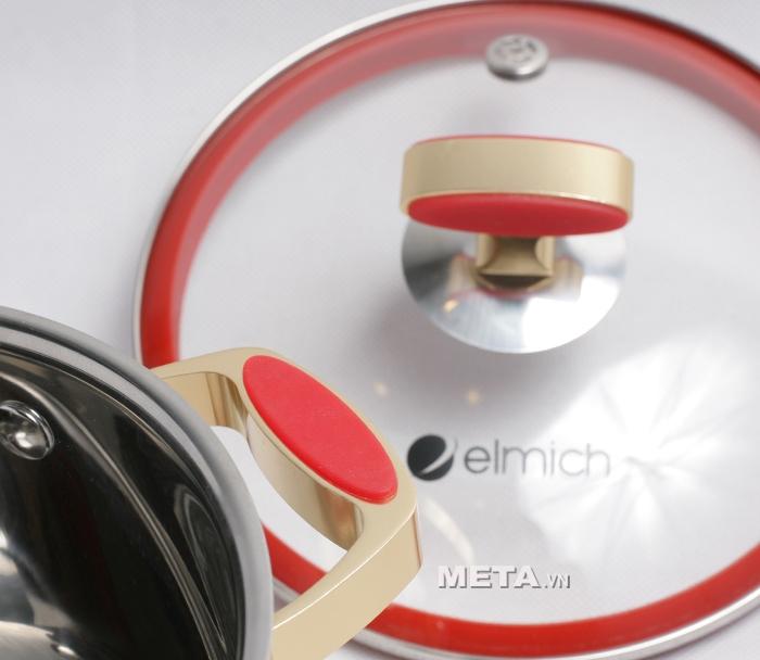 Xoong inox 304 Red Velvet 22cm 2355269 có quai cầm chống bỏng.