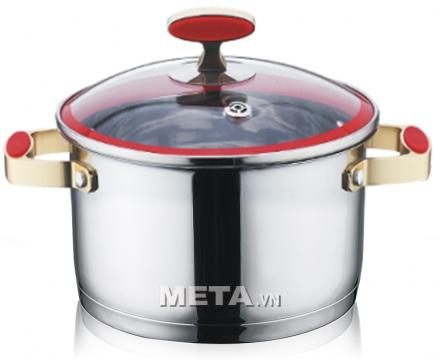 Xoong inox 304 Red Velvet 22cm 2355269 dùng được với bếp từ.
