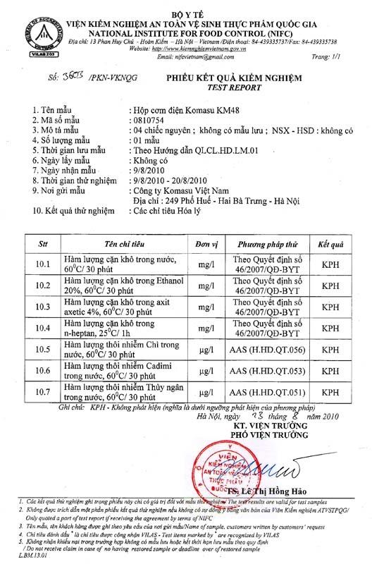 Giấy chứng nhận kết quả kiểm nghiệm của hộp cơm điện Komasu KM48T