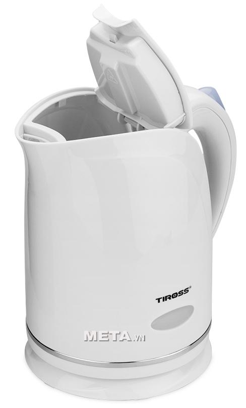 Ấm siêu tốc Tiross TS-488 có mâm nhiệt to và phẳng có đèn báo khi hoạt động.