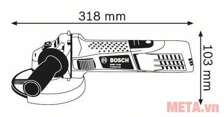 Kích thước của máy mài góc Bosch GWS 7-125 (720W).
