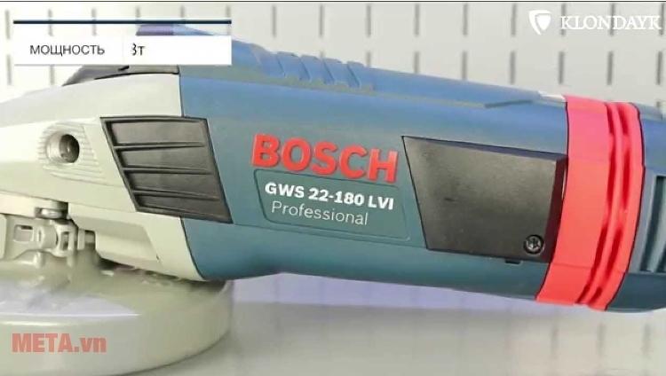 Máy mài góc Bosch GWS 22-180 LVI (2200W) với thiết kế thân máy chắc chắn làm từ chất liệu cao cấp,
