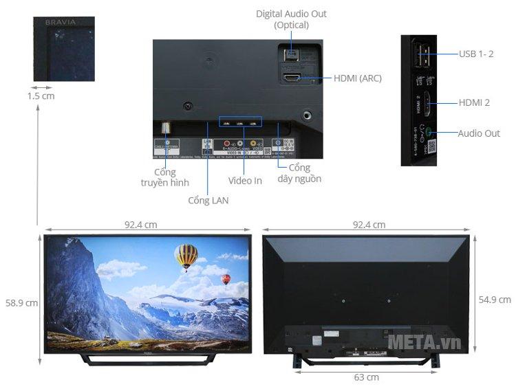 Cấu tạo của tivi Sony 40 inch.