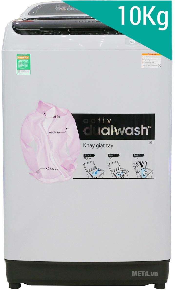 Máy giặt cửa trên 10kg Samsung WA10J5710SG thiết kế hiện đại.