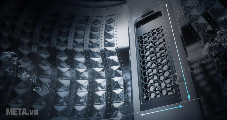 Máy giặt cửa trên 10kg Samsung WA10J5710SG thiết kế lồng giặt kim cương.