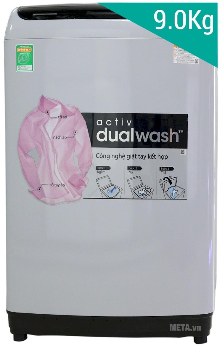 Máy giặt Samsung WA90J5710SG 9kg với khối lượng giặt lớn.