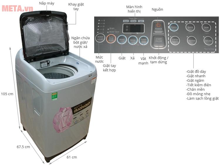 Cấu tạo của máy giặt cửa trên Samsung 9kg WA90J5710SG.