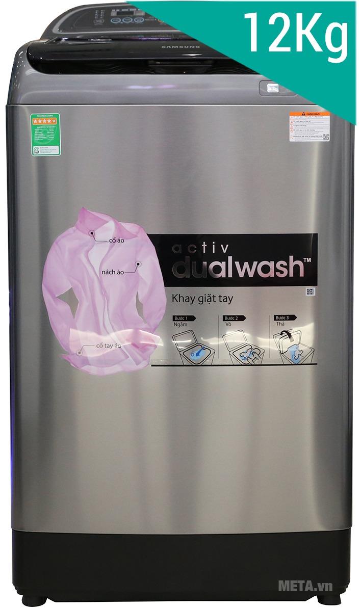 Máy giặt cửa trên Samsung 12kg WA12J5750SP với khối lượng giặt lớn.