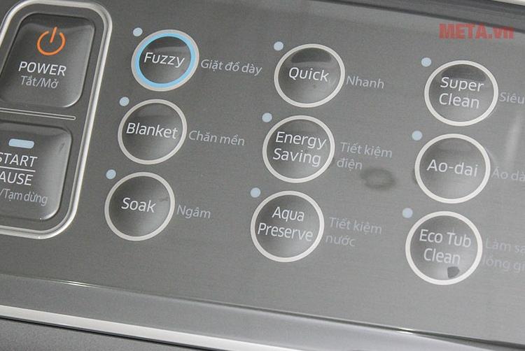 Máy giặt cửa trên Samsung 12kg WA12J5750SP với nút bấm các chế độ giặt khác nhau.