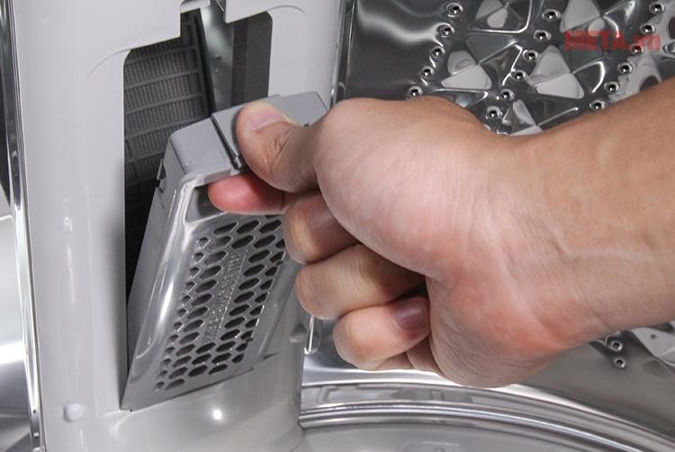 Máy giặt cửa trên Samsung 12kg WA12J5750SP với bộ lọc chống xơ vải, rút sợi.