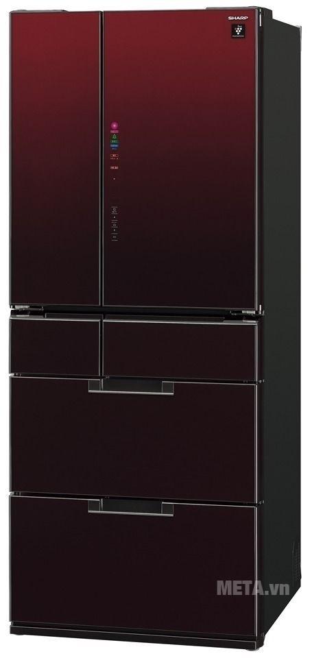 Tủ lạnh side by side 601 lít Sharp SJ-GF60A-R/T thiết kế sang trọng, hiện đại.