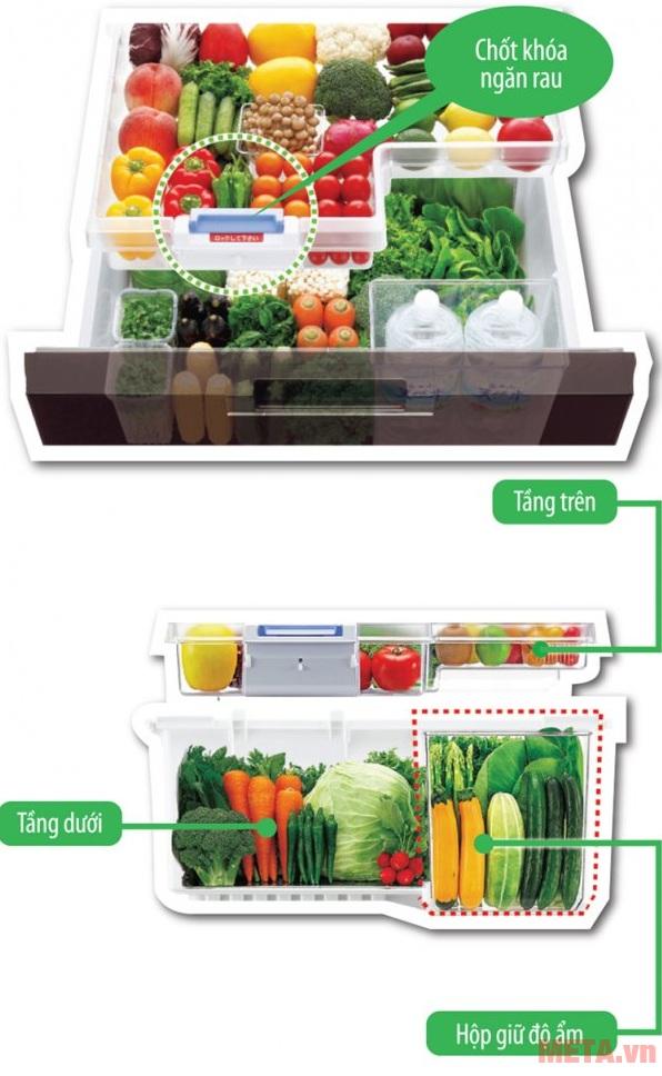 Tủ lạnh side by side 601 lít Sharp SJ-GF60A-R/T với ngăn rau quả có chốt khóa.
