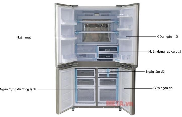 Tủ lạnh side by side 605 lít Sharp SJ-FX680V-WH với dung tích tủ lớn.