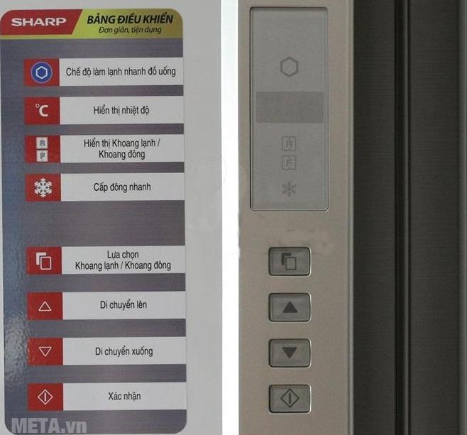 Tủ lạnh side by side 605 lít Sharp SJ-FX680V-WH với thiết kế màn hình điều khiển bên ngoài.