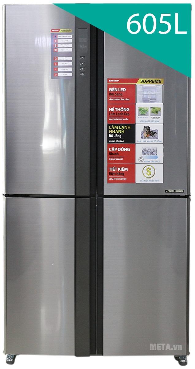 Tủ lạnh side by side 605 lít Sharp SJ-FX680V-ST với thiết kế hiện đại.