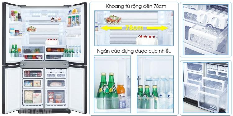 Tủ lạnh side by side 605 lít Sharp SJ-FX680V-ST với dung ttích tủ lớn.