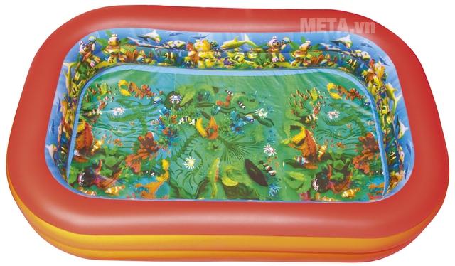 Bể phao 3D hình chữ nhật (kèm theo 2 kính bơi 3D) Bestway 54114 với thiết kế 3D cho bé khám phá cả thế giới.