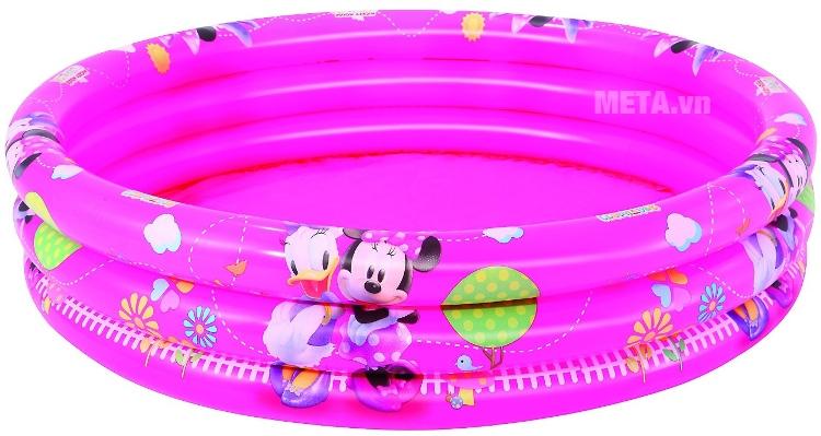 Bể phao bơi 3 tầng hình Micky Bestway 91037 với thiết kế màu hồng dễ thương.