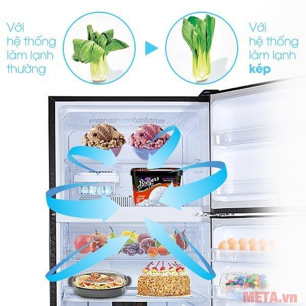 Tủ lạnh 627 lít Sharp SJ-XP630PG-SL có hệ thống làm lạnh kép giúp thực phẩm tươi lâu