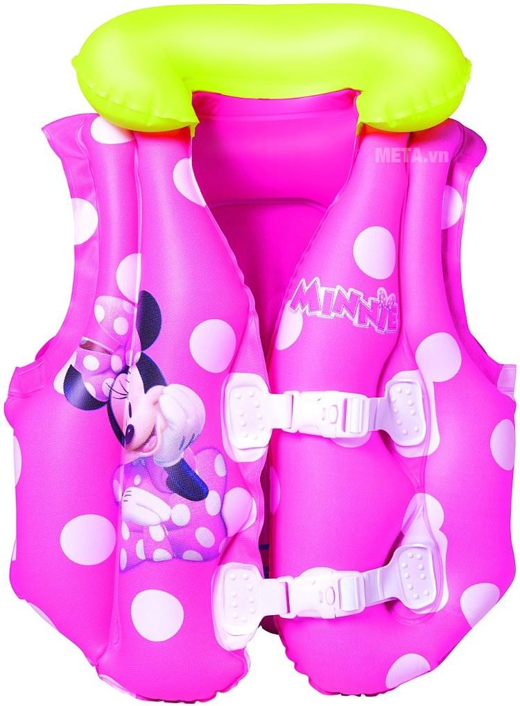 Áo phao hình Micky hồng - Mini Bestway 91070 có dây đai an toàn.