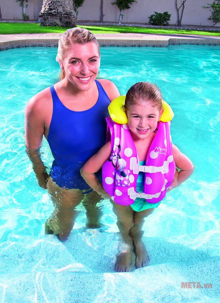 Áo phao hình Micky hồng - Mini Bestway 91070 thích hợp cho bé gái từ 3 đến 6 tuổi.