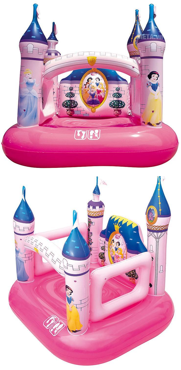 Nhà chơi phao lâu đài công chúa Bestway 91050 được thiết kế mô phỏng như thật.