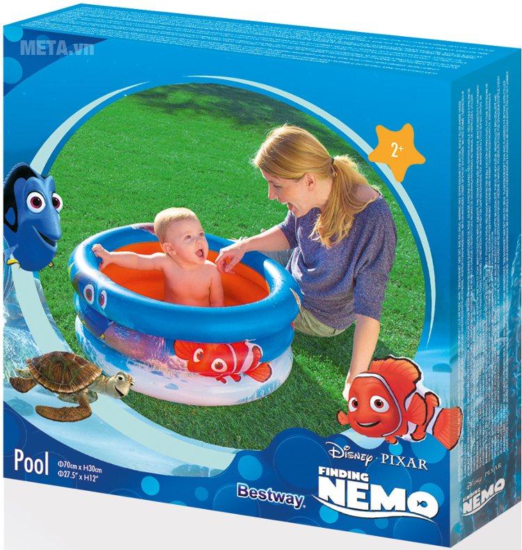 Bể phao cá vàng Nemo nhỏ 3 tầng Bestway 91109 dễ dàng gấp gọn.