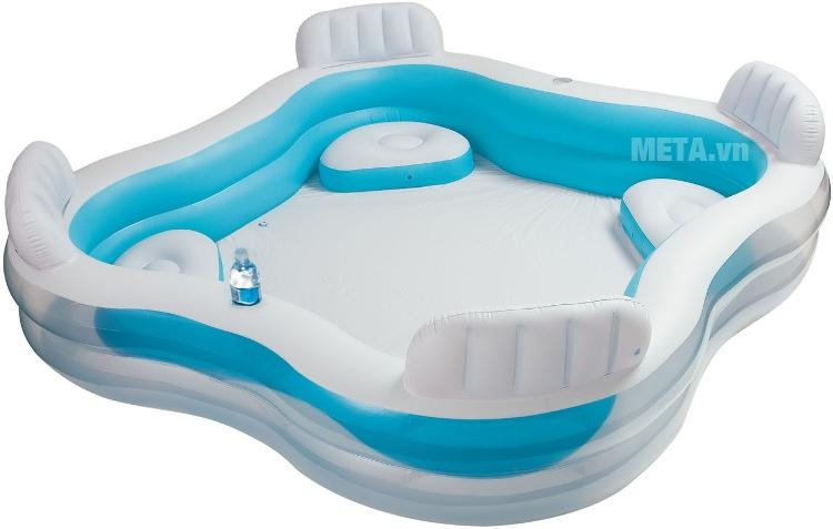 Bể bơi phao gia đình Salon INTEX 56475 thiết kế màu xanh tươi mát.
