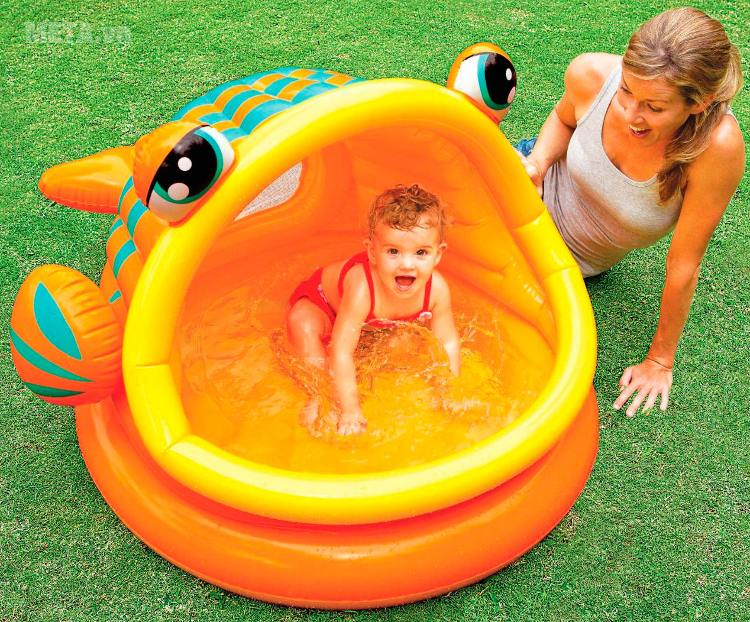 Bể bơi phao mái che cá trê INTEX 57109 dành cho trẻ trên 1 tuổi.