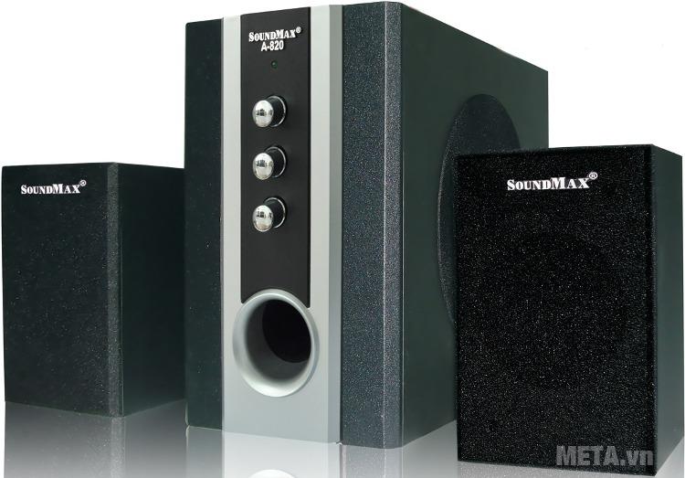 Loa vi tính SoundMax A820 2.1 với thiết kế hiện đại.