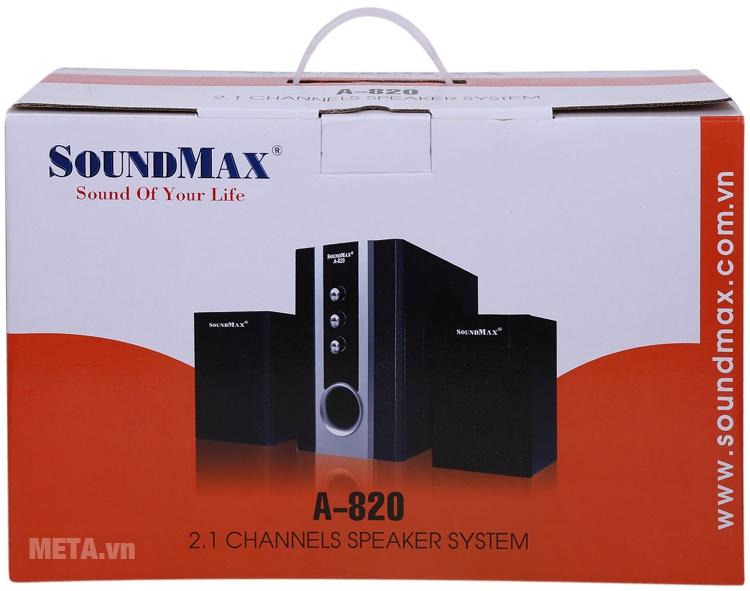 Loa vi tính SoundMax A820 2.1 với hộp đựng sang trọng.