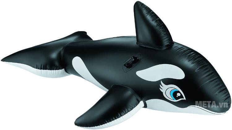 Phao bơi cá voi đen Intex 58561 với chịu được trọng tải dưới 60kg.