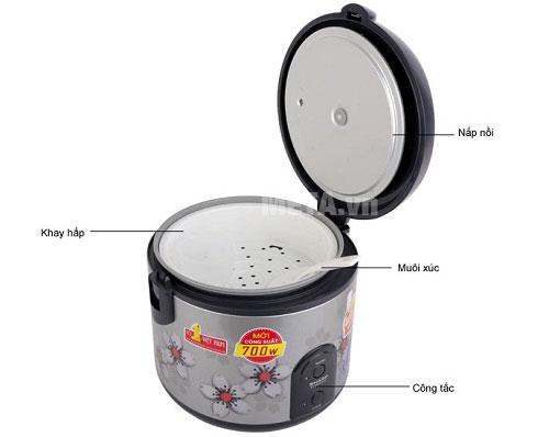Nồi cơm điện có khay hấp, muỗi xới và cốc đong gạo đi kèm