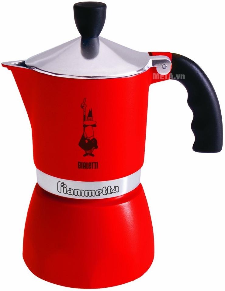 Ấm pha cà phê Bialetti Fiammetta 3Tz BCM 5762 với màu đỏ.