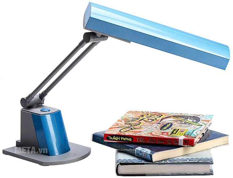 Đèn bàn biến tần V-light SFL 13W với thiết kế màu xanh dương.