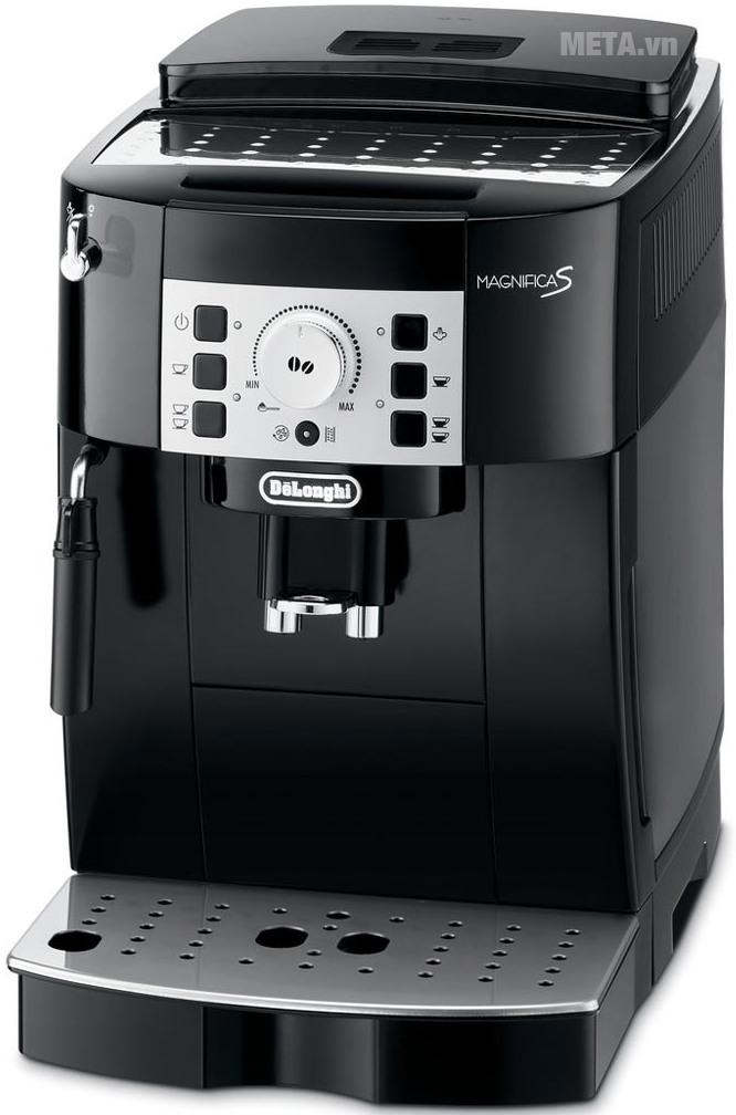 Máy pha cà phê Delonghi ECAM 22.110B với thiết kế đen hiện đại.