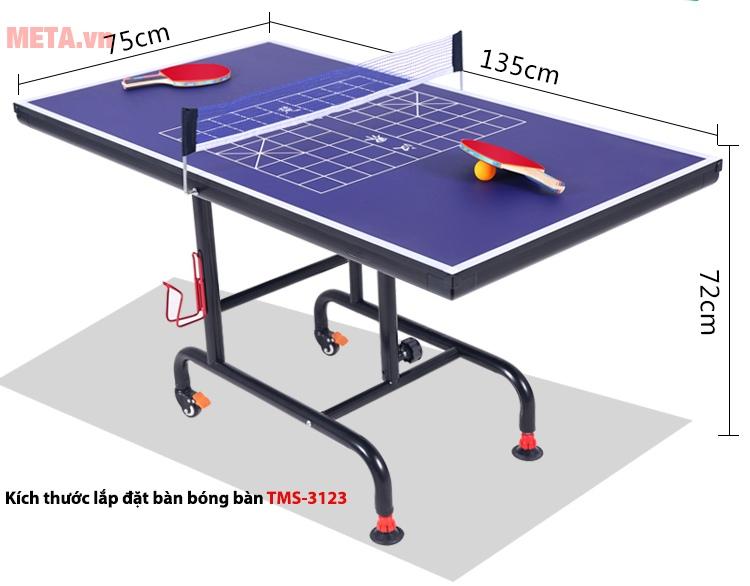 Bàn bóng bàn trẻ em TMS 3123 sở hữu kích thước bàn lớn.