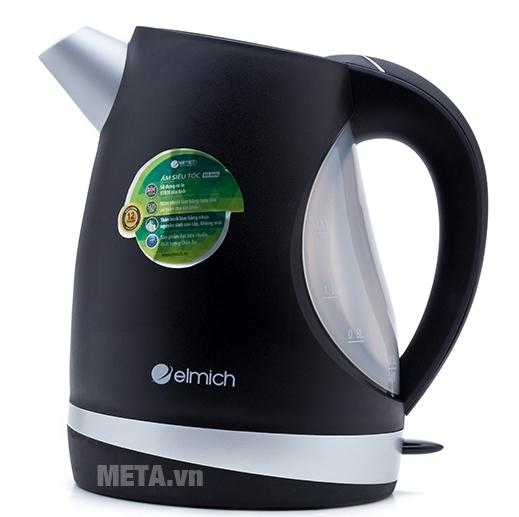 Ấm đun nước siêu tốc Elmich 1,7 lít KEE-0698 có tay cầm bằng nhựa dạng vòng cung mang lại cảm giác chắc chắn.