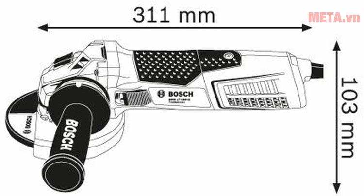 Máy mài góc Bosch GWS 17-150 CI với kích thước nhỏ gọn.