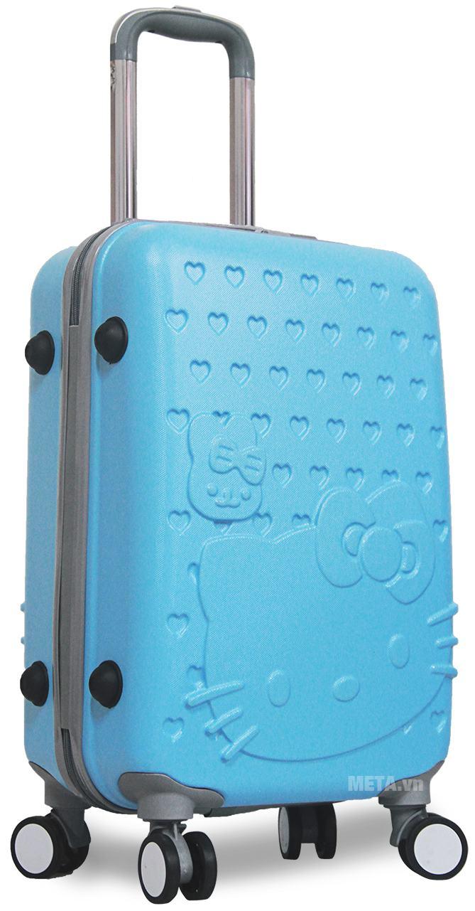 Vali nhựa Hello Kitty 20 inch màu xanh ngọc.