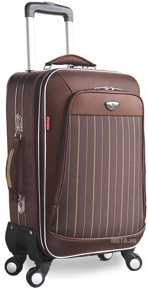 Vali 4 bánh xoay VLX011 20 inch với thiết kế màu nâu.