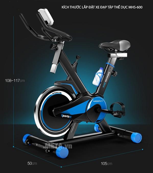 Xe đạp tập Mofit MHS 600 với kích thước xe tập nhỏ, vừa vặn với mọi diện tích.