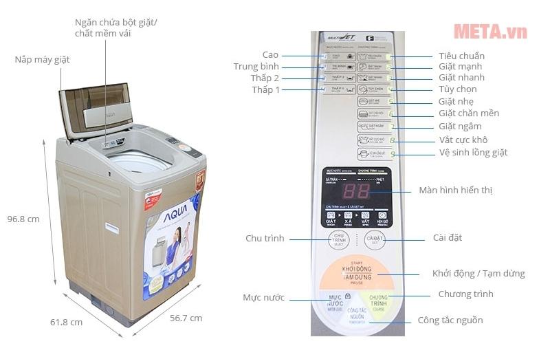 Cấu tạo của máy giặt cửa trên 7kg Aqua AQW-U700Z1T