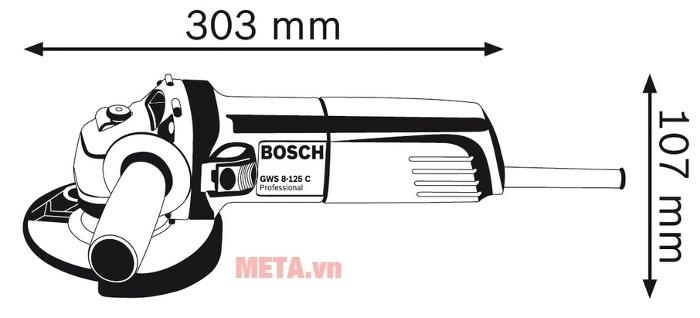 Kích thước máy mài góc Bosch GWS 8-125C