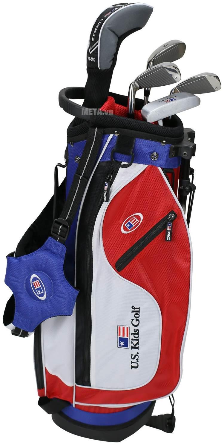 Bộ gậy golf trẻ em US Kids Golf UL48 5 Club với túi gậy hiện đại.